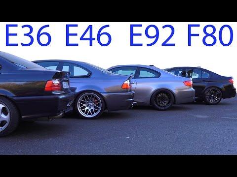BMW M3 E30 vs M3 E36 vs M3 E46 vs M3 E92 vs M3 F80 Sound Battle 5 Generation V8