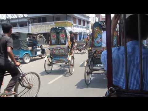 Riksha driving in Khulna, Bangladesh - April 3, 2013