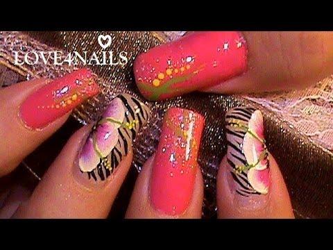 Flor a mano alzada decoracion de u as youtube - Como pintar azulejos a mano ...