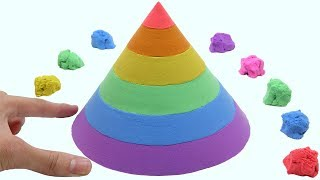 Learn Colors With Kinetic Sand Rainbow Cone Surprise Toys How To Make For Children