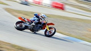 Russian sliding with KTM 450 SMR in Circuit d'Osona, Vic, Spain