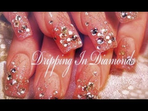 Pink Nails dripping in DIAMONDS & GLITTER