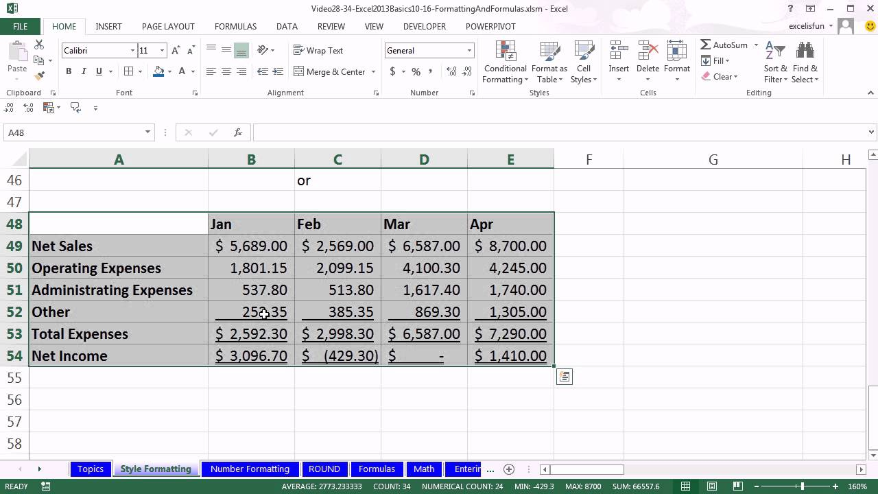 Office 2013 Class 28 Excel Basics 10 Style Formatting