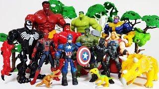 Thanos vs The Avengers, Dinosaurs are in Danger~! Go Marvel Heroes, Spider Man, Hulk, Iron man, Hulk