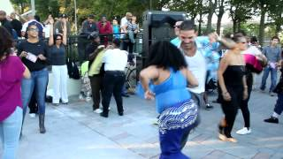 Dancing at  East River Jam Sunset Ritual with Anané & Louie Vega