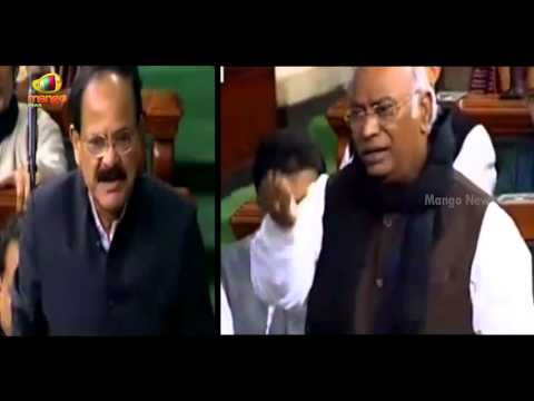 Venkaiah Naidu Vs Congress MP Mallikarjun Kharge heated debate over PM Modi silence