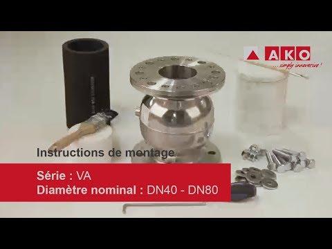 Réparation : vanne à manchon AKO (pneumatique), série VA, DN40, DN50, DN65, DN80
