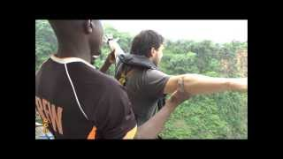 My bungee jump off Victoria Falls Bridge, Zimbabwe