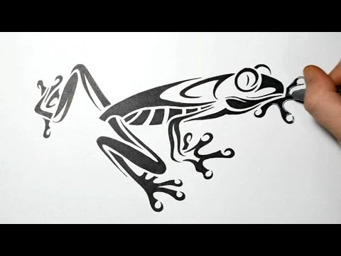 How to Draw Tree Frog - Tribal Tattoo Design - Real Time