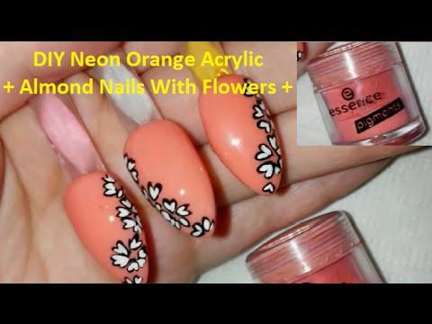 Neon Orange Acrylic Nails Diy Neon Orange Acrylic