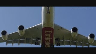 Airliners in motion. A slow motion video