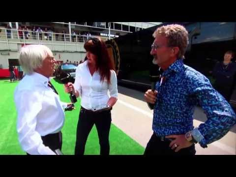 Suzi Perry gets caught off guard by F1 Bernie Ecclestone. Spanish Grand Prix 2013.