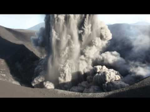 Dangerous level 3 eruption of Yasur Volcano viewed from crater rim (2/2)