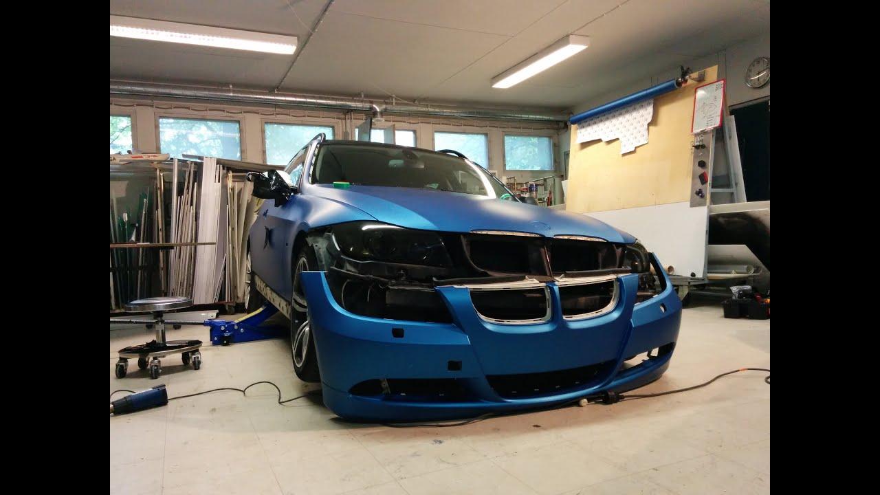 Car wrapping - BMW e91 330d 3M matte blue metallic - YouTube