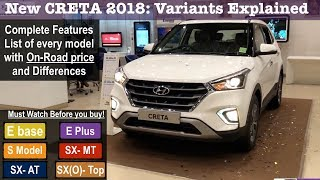 New Creta 2018 E,E Plus,S,SX,SXO Model Features,Price | Creta 2018 Variants Explained