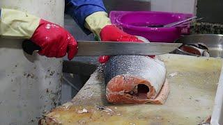 TASTY SALMON STEAKS : How To Cut Salmon FISH