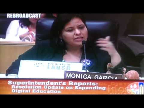 "Monica Garcia says ""$500 Million for iPads, not Living Wages for employees"""