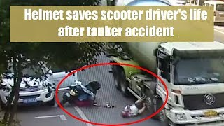 Helmet saves scooter driver's life after tanker accident in east China