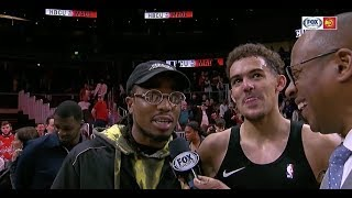 Quavo joins Trae Young's postgame interview, exchanges chain for jersey