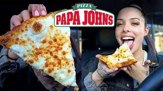 Trying Papa John's NEW Extra Cheesy Alfredo Pizza w/ Garlic Parmesan Crust!!! ????