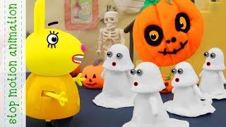 Halloween decorations Peppa Pig tv toys stop motion animationin english