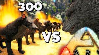 ARK Survival Evolved - HYAENODON VS DIREWOLF, 300 HYAENODON VS, YUTY VS REX & GIGA ( Gameplay)