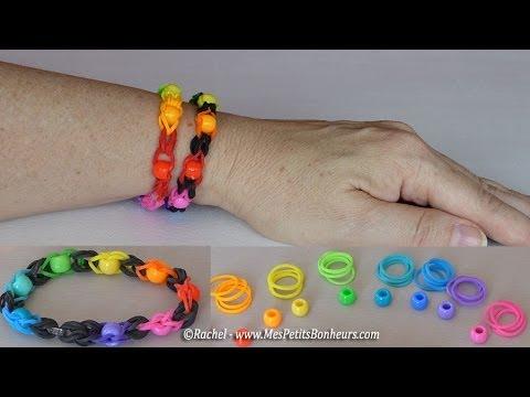 Bracelet élastiques avec perles à faire avec deux doigts
