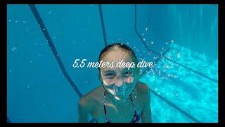 Carla Underwater  swimming in a deep 5.5 meters pool
