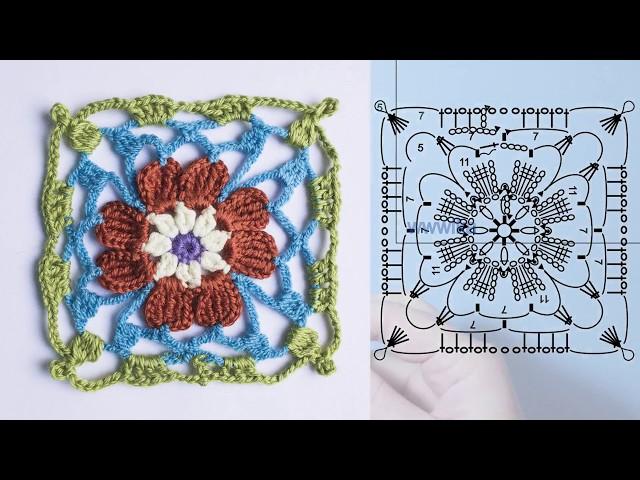 Ажурный квадрат крючком Вязание крючком Lace crochet square Вяжем по схемам
