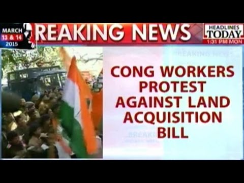 Congress Workers Protest Against NDA's Land Bill