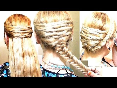 Peinados  Fáciles con Cruzados y TrenzaS  Espiga Quick and Easy Elegant Braid Hairstyle and Updo