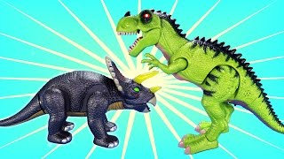 Walking Dinos T-rex and Triceratops - Fun Dinosaurs Toys For Kids