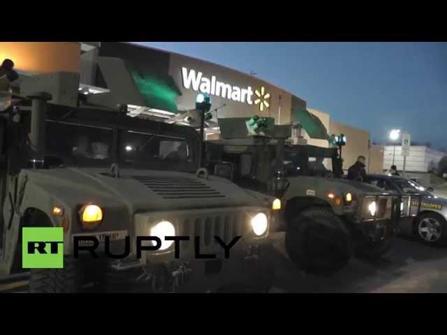 USA: National Guard patrol Ferguson Walmart before Black Friday