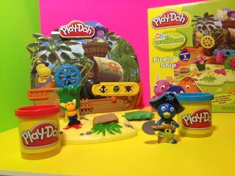 BACKYARDIGANS PLAY-DOH Backyardigans Pirate Ship Nickelodeon with Pablo + Play Doh Tyrone + Uniqua