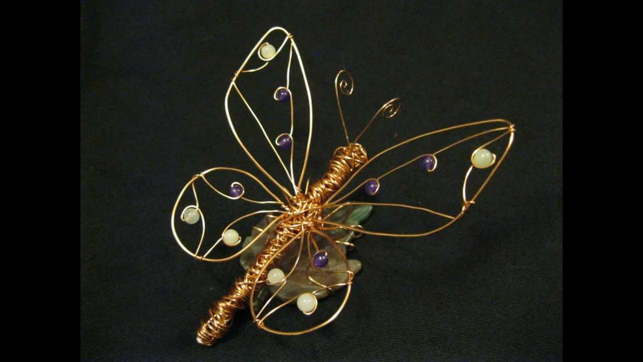 Butterfly on a leaf 4 wire sculpture youtube for How to make a wire sculpture