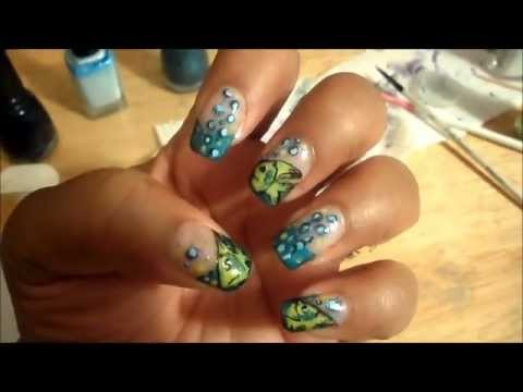 Fish Bubbles Nail Art Design