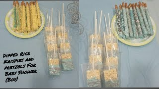 Dipped Rice Krispies and Pretzels for a Baby Shower (boy)