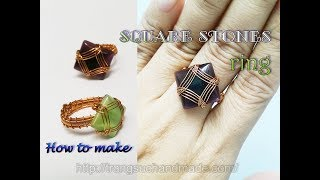 Wire ring with square cabochon - How to make jewelry from copper 385