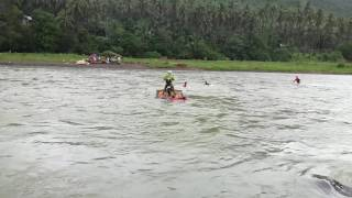 Honda XR125L crossing a river in Dingalan, Aurora, Quezon Philippines