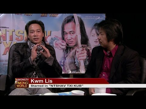 "3HMONGTV-HMONGWORLD: Kabyeej talks with Kwm Lis about his latest movie, ""Ntshav Txi Kub""."