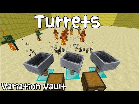 Minecraft Bukkit Plugin - Turrets - Auto shooting turrets with minecarts!