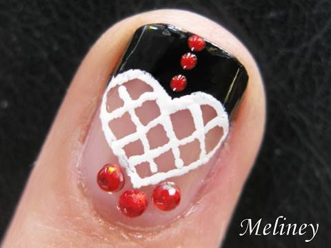Nail Art Tutorial -- Spanish Lace Heart Latin Love French Manicure Design