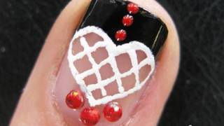 Nageldesign Spanish Lace Heart: Nail Art español Latin Love French Manicure Tuto for Short Nails