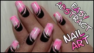 Abstact Party Nails / Easy Nail Art Design (tutorial for long nails with nail polish)