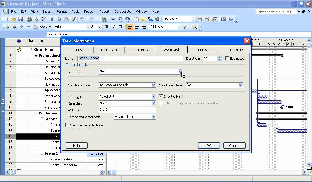 how to add a task header in microsoft project