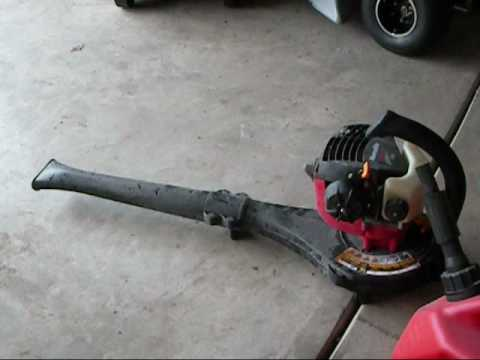 Homelite 26B gas leaf blower review with cold start!