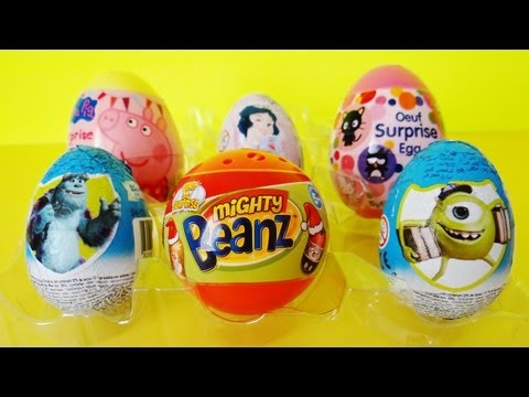 6 surprise eggs unboxing Monsters University. Mighty Beanz. Peppa Pig. Hello Kitty. Disney Princess