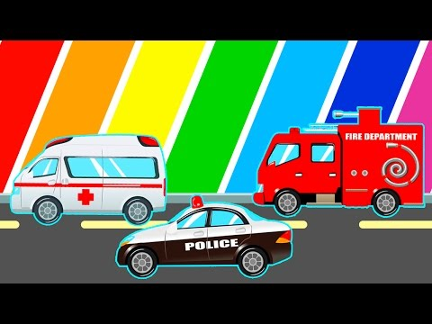 COLOR Cartoon for Children - Police Car, Ambulance, Fire Truck Cars Colors for Kids Fun Videos