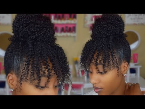 Quick Loose Bun on Natural Hair using Kinky Curly Clip Ins   Protective Styles Hair Review
