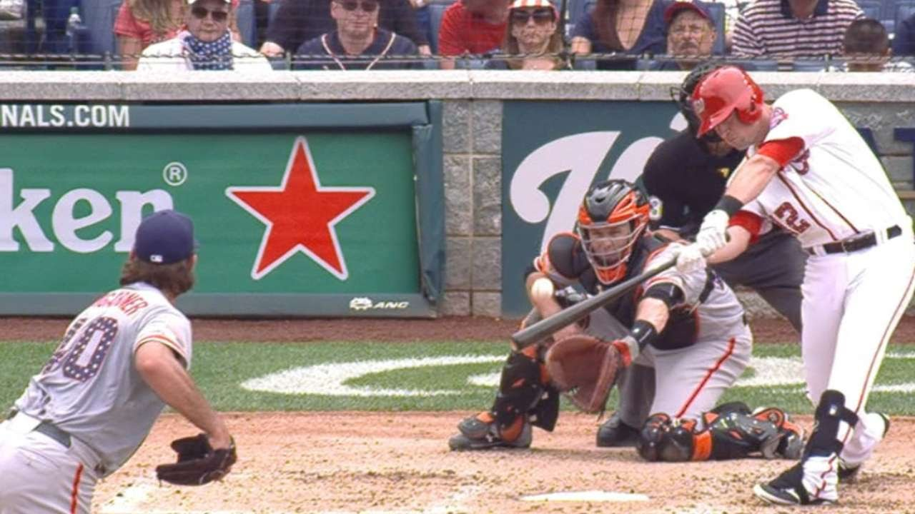 SF@WSH: Moore collects four RBIs vs. Giants